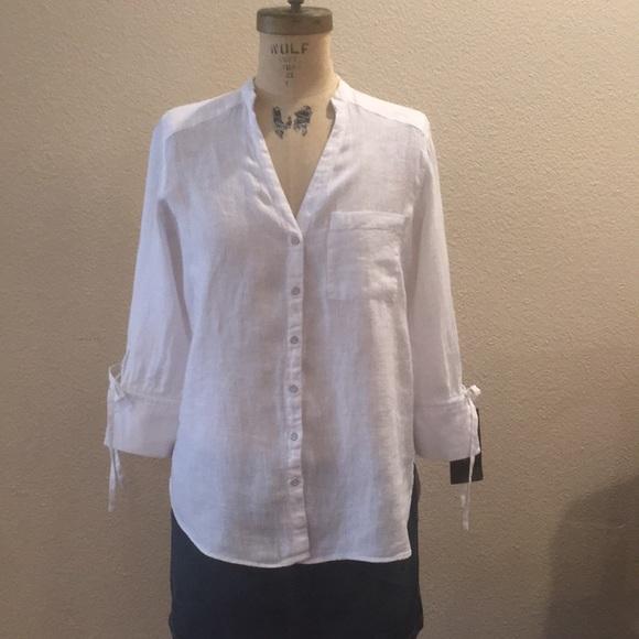 d22fde5a Zara Tops | White Linen Blouse | Poshmark